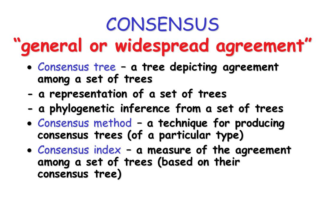 CONSENSUS general or widespread agreement