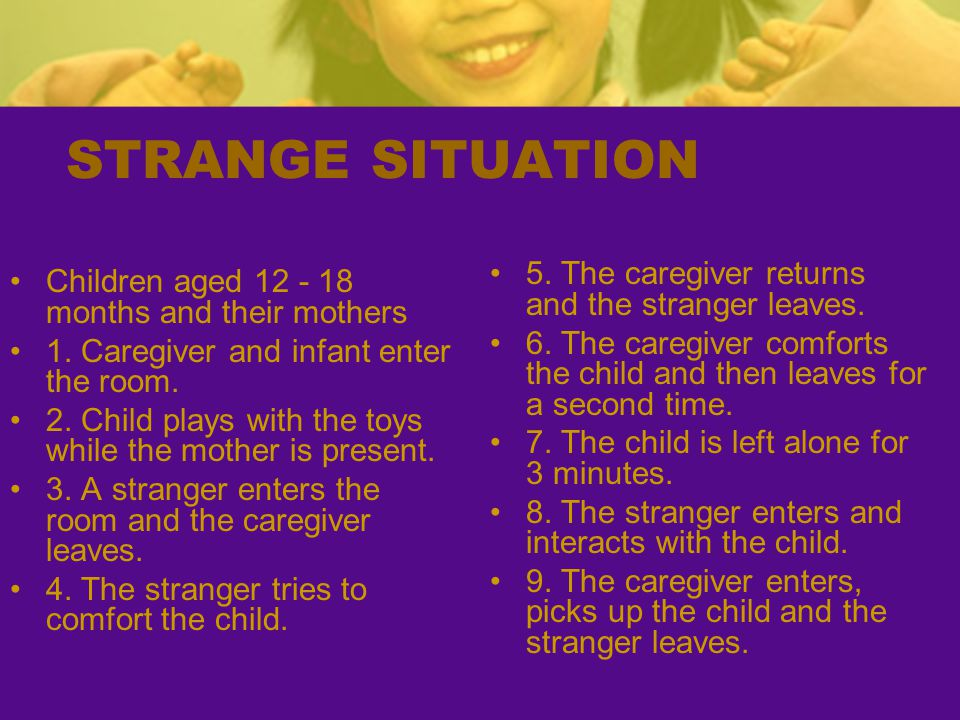 STRANGE SITUATION 5. The caregiver returns and the stranger leaves.