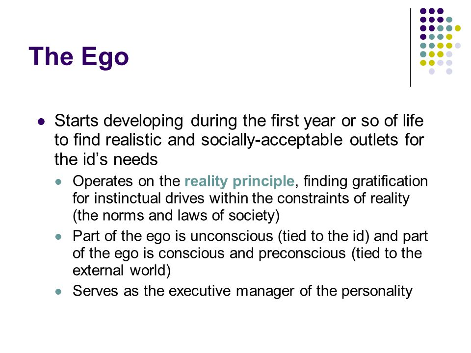 The Ego Starts developing during the first year or so of life to find realistic and socially-acceptable outlets for the id's needs.