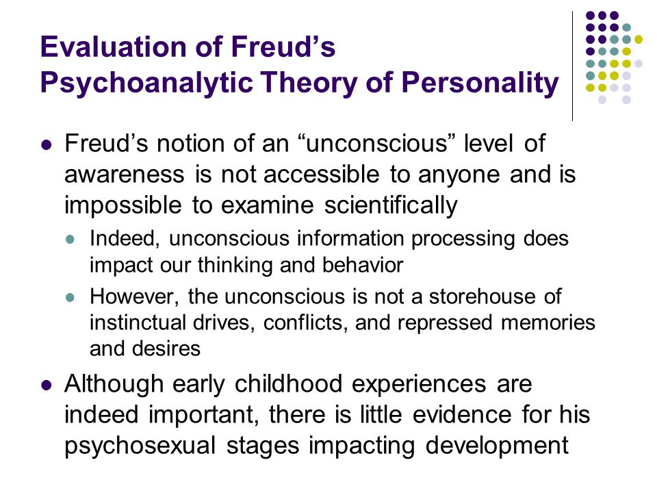 Evaluation of Freud's Psychoanalytic Theory of Personality