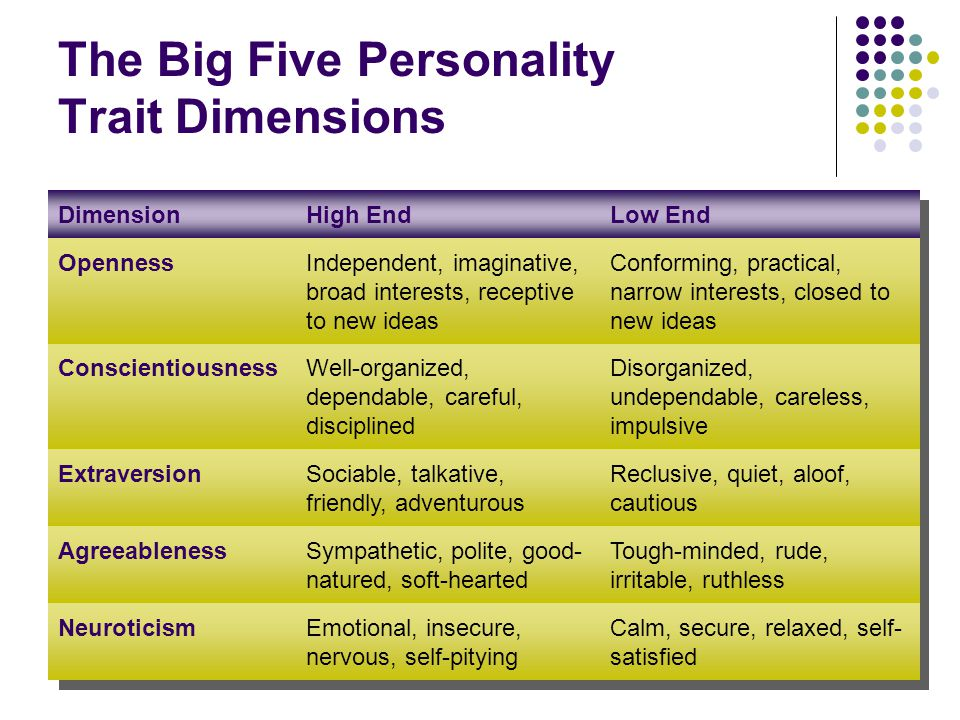 The Big Five Personality Trait Dimensions