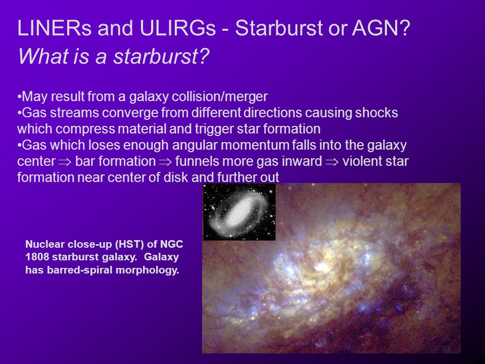 LINERs and ULIRGs - Starburst or AGN What is a starburst