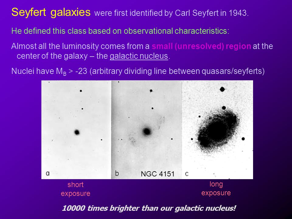 Seyfert galaxies were first identified by Carl Seyfert in 1943.