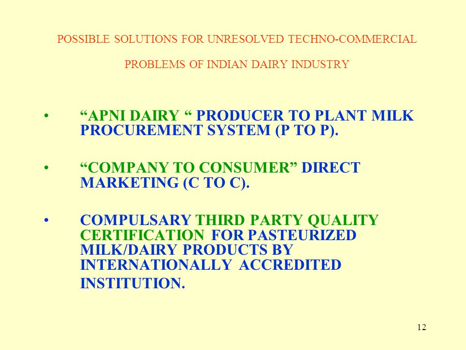 APNI DAIRY PRODUCER TO PLANT MILK PROCUREMENT SYSTEM (P TO P).