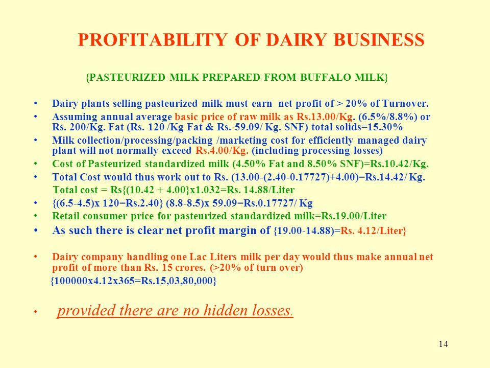PROFITABILITY OF DAIRY BUSINESS
