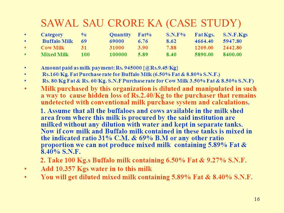 SAWAL SAU CRORE KA (CASE STUDY)