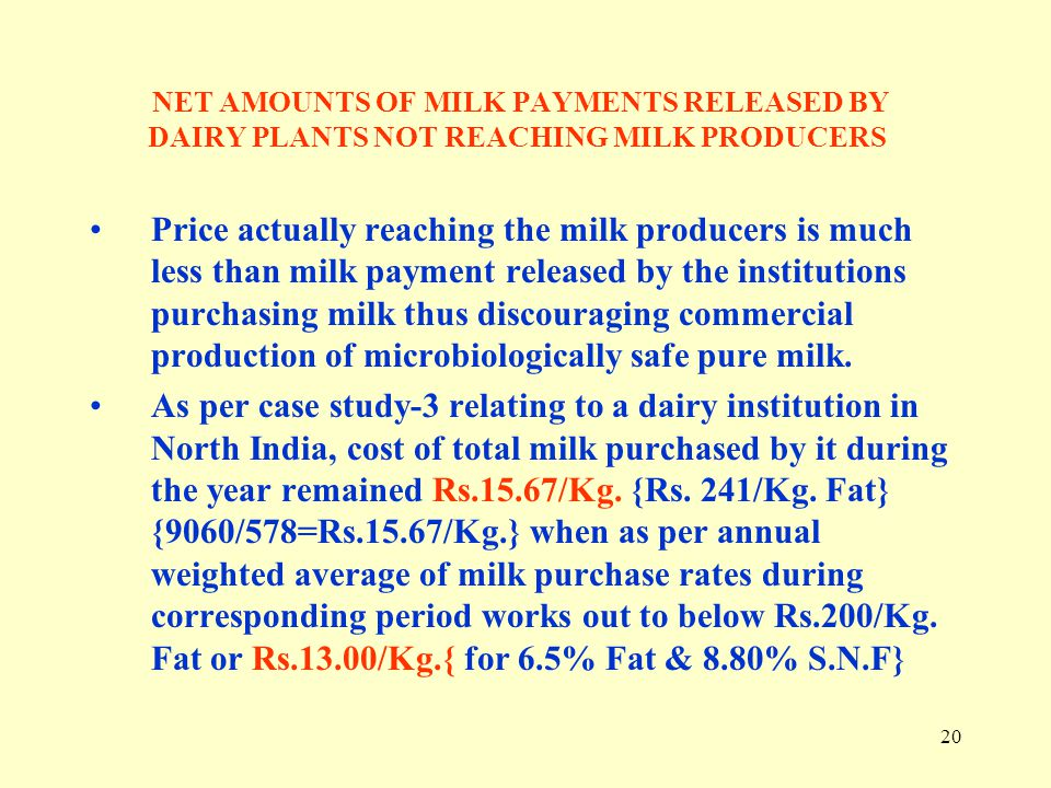 NET AMOUNTS OF MILK PAYMENTS RELEASED BY DAIRY PLANTS NOT REACHING MILK PRODUCERS