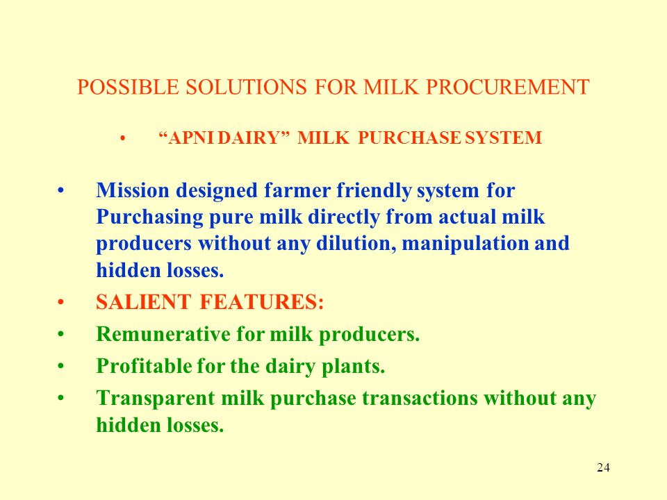 POSSIBLE SOLUTIONS FOR MILK PROCUREMENT