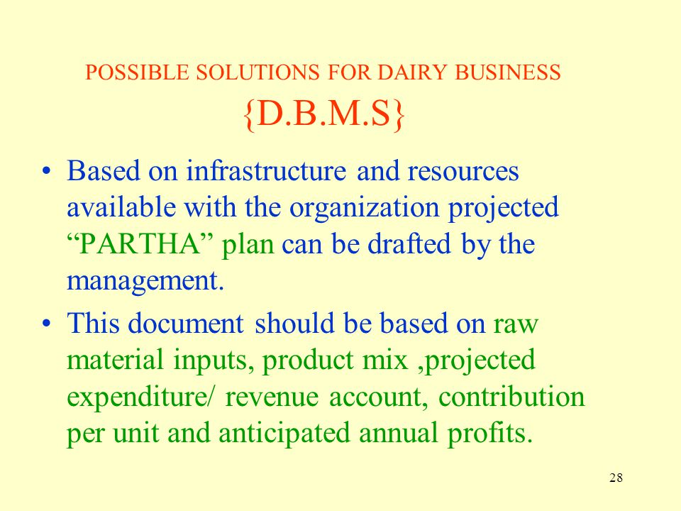 POSSIBLE SOLUTIONS FOR DAIRY BUSINESS {D.B.M.S}