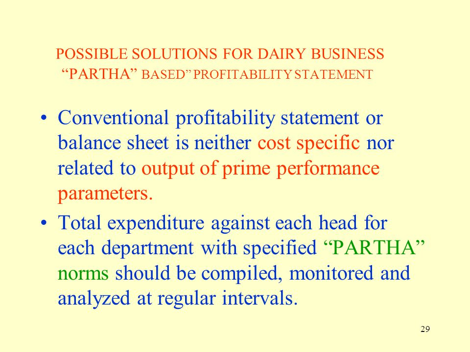POSSIBLE SOLUTIONS FOR DAIRY BUSINESS PARTHA BASED PROFITABILITY STATEMENT