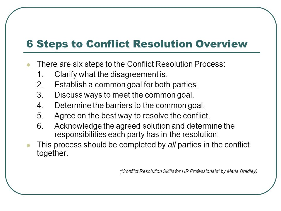 6 Steps to Conflict Resolution Overview