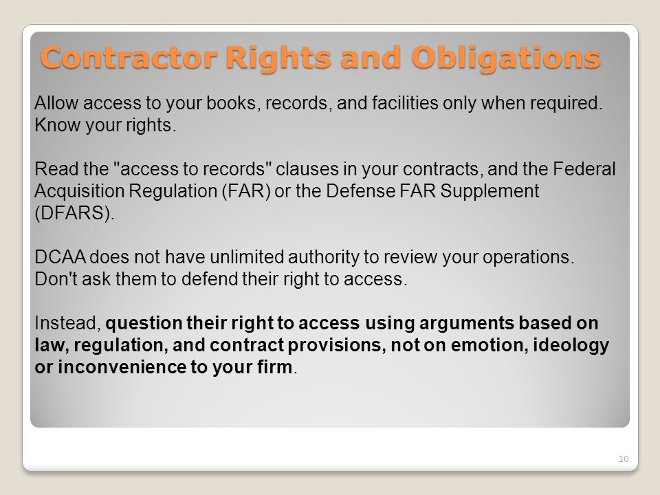 Contractor Rights and Obligations
