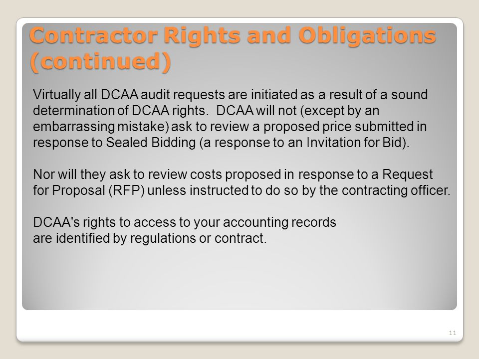 Contractor Rights and Obligations (continued)