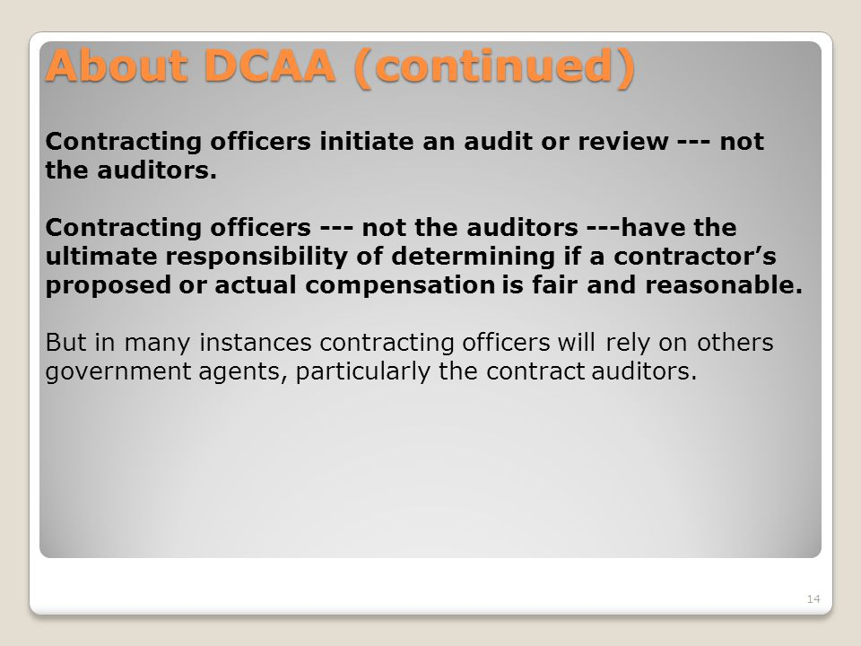 About DCAA (continued)