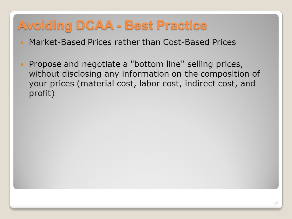 Avoiding DCAA - Best Practice