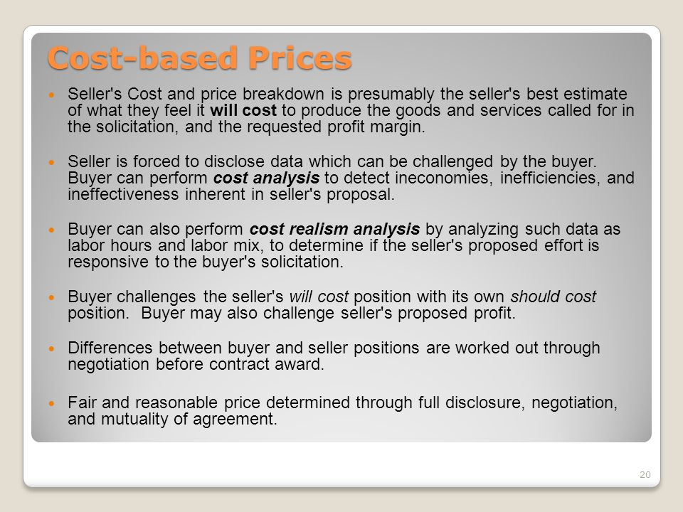 Cost-based Prices