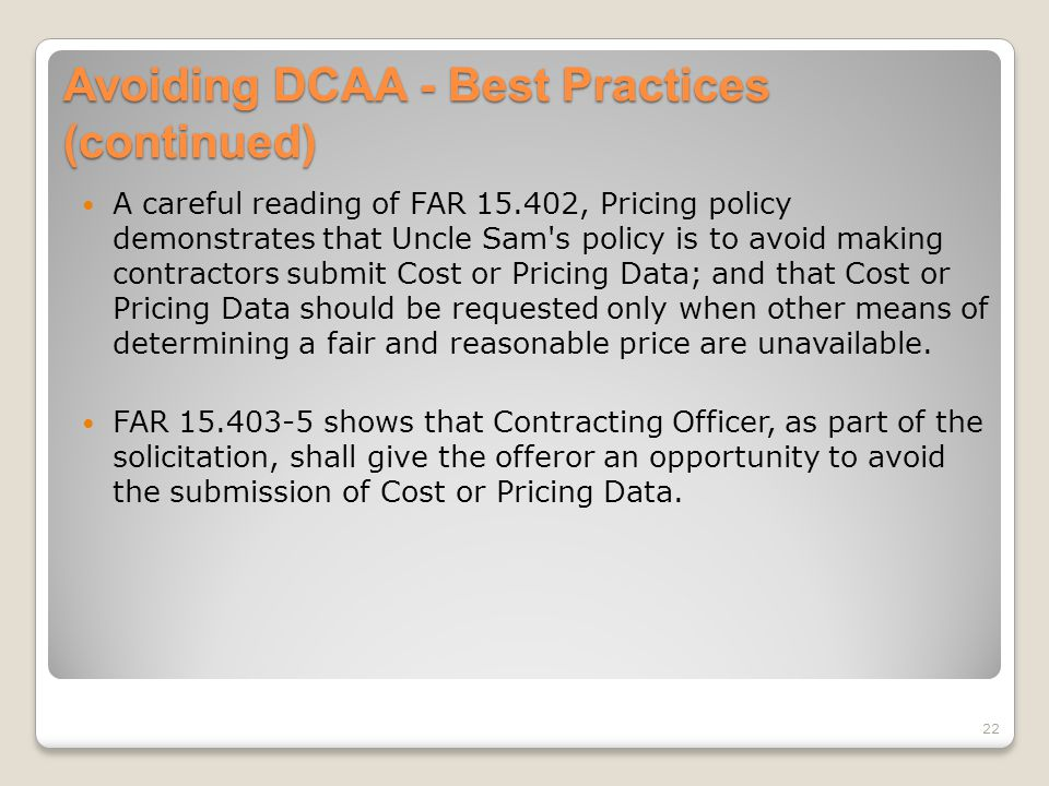 Avoiding DCAA - Best Practices (continued)