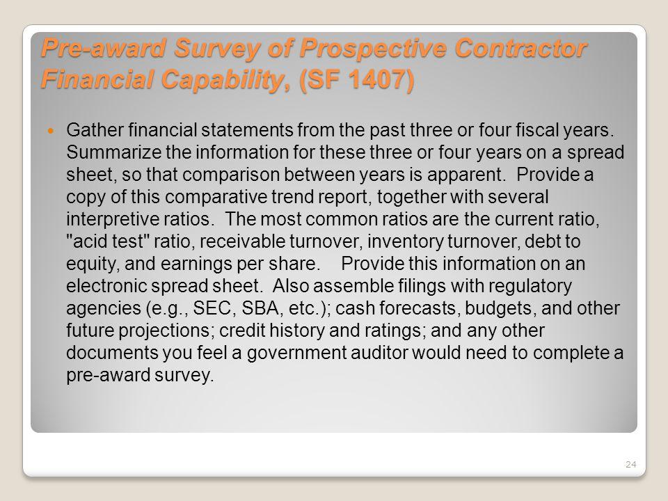 Pre-award Survey of Prospective Contractor Financial Capability, (SF 1407)