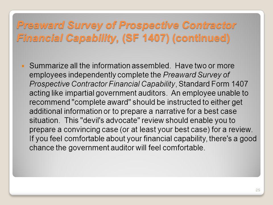 Preaward Survey of Prospective Contractor Financial Capability, (SF 1407) (continued)