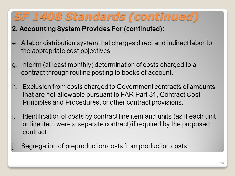 SF 1408 Standards (continued)