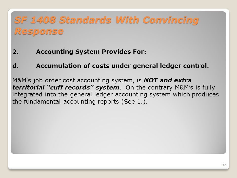SF 1408 Standards With Convincing Response