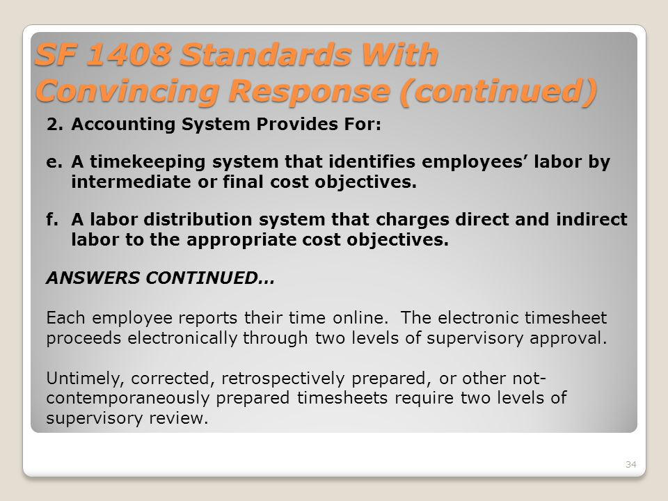 SF 1408 Standards With Convincing Response (continued)
