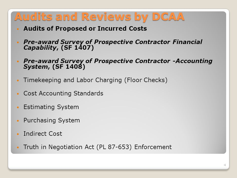 Audits and Reviews by DCAA