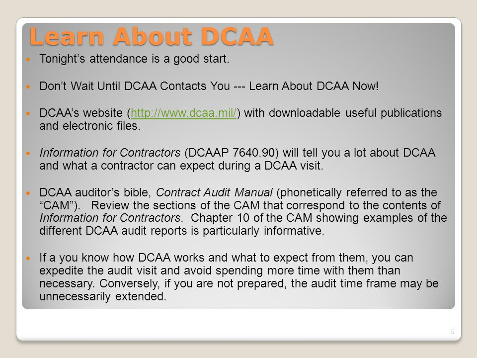 Learn About DCAA Tonight's attendance is a good start.