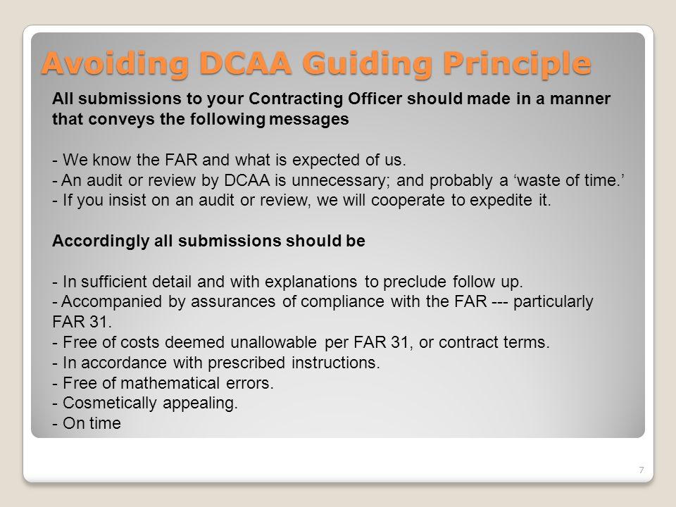 Avoiding DCAA Guiding Principle