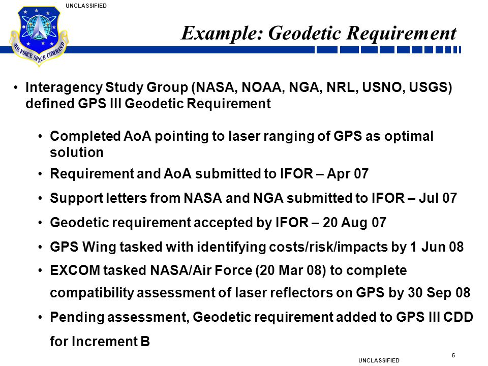 Example: Geodetic Requirement