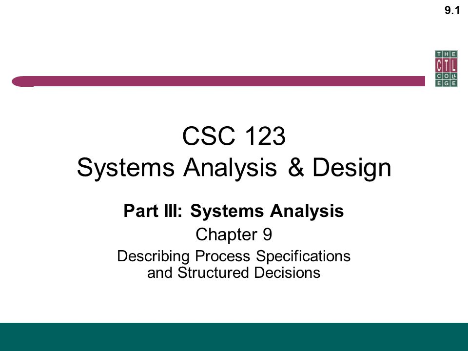 Csc 123 Systems Analysis Design Ppt Video Online Download