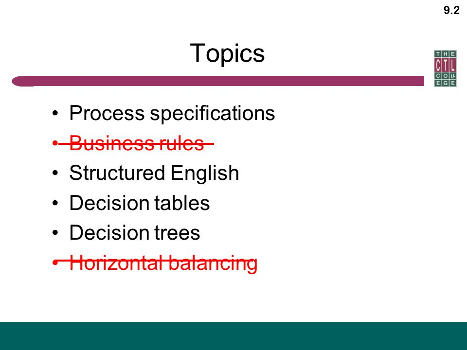 Topics Process specifications Business rules Structured English