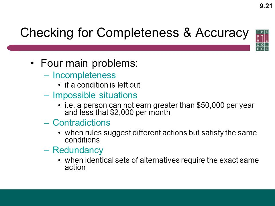 Checking for Completeness & Accuracy