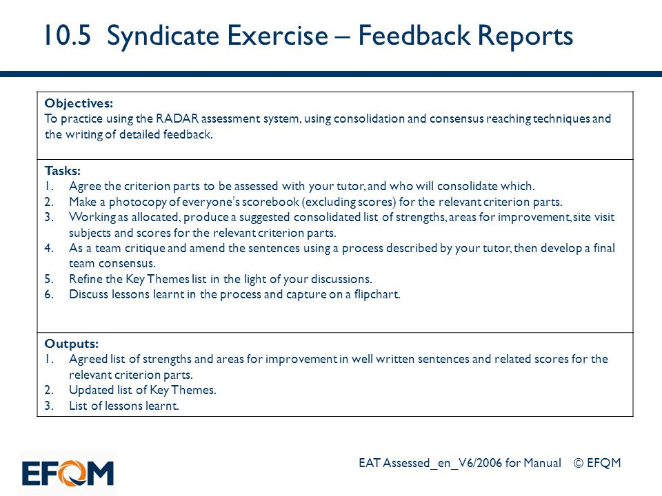 10.5 Syndicate Exercise – Feedback Reports