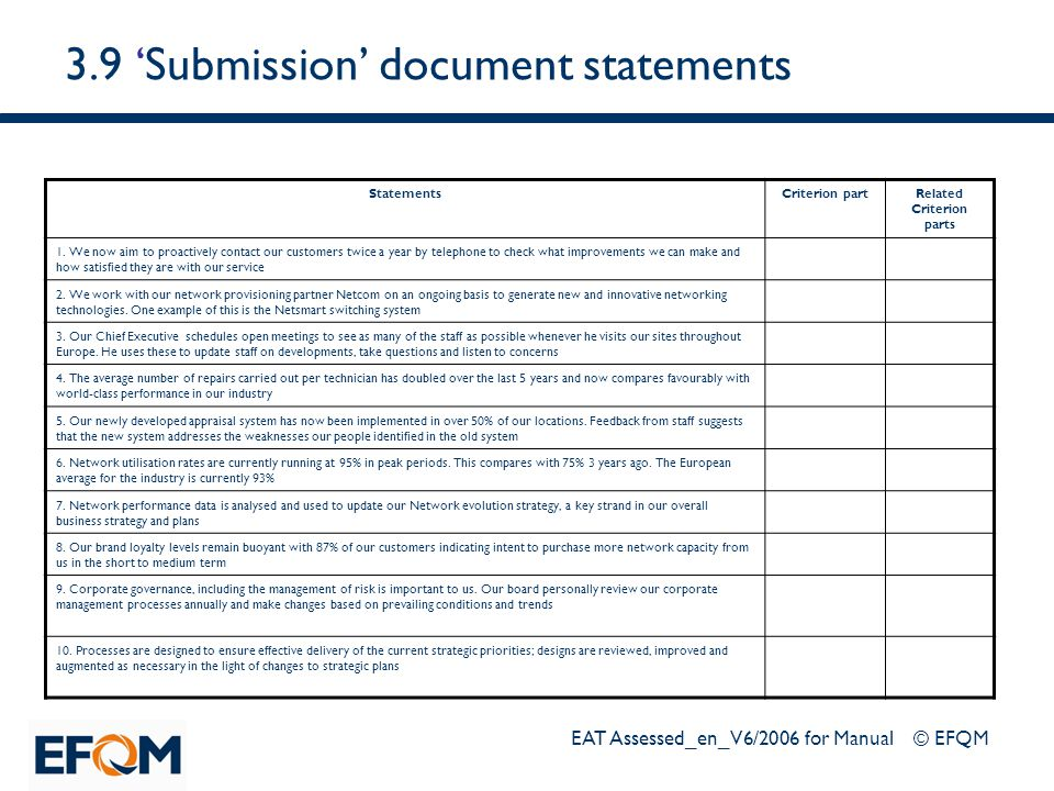 3.9 'Submission' document statements