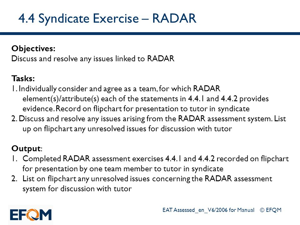 4.4 Syndicate Exercise – RADAR