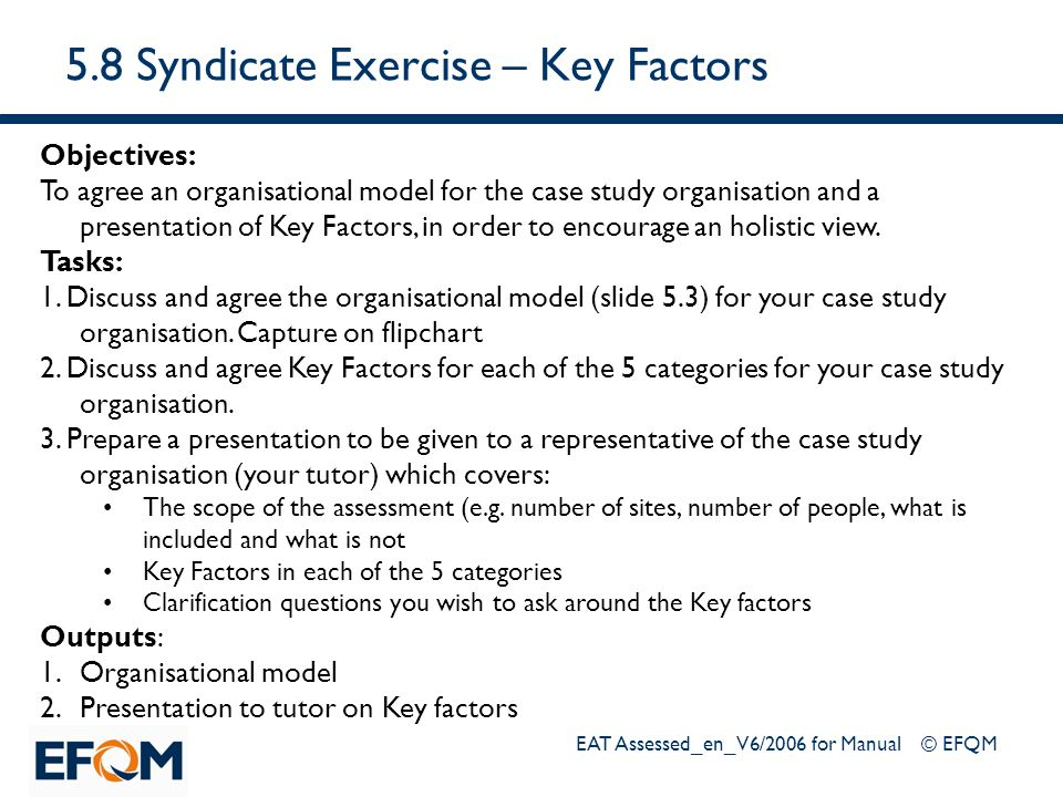 5.8 Syndicate Exercise – Key Factors