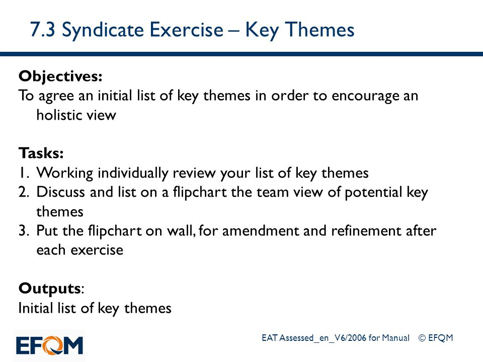7.3 Syndicate Exercise – Key Themes