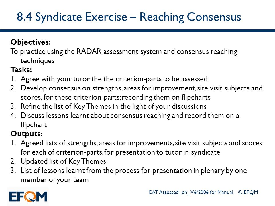 8.4 Syndicate Exercise – Reaching Consensus