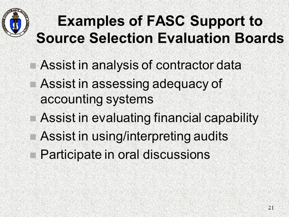 Examples of FASC Support to Source Selection Evaluation Boards
