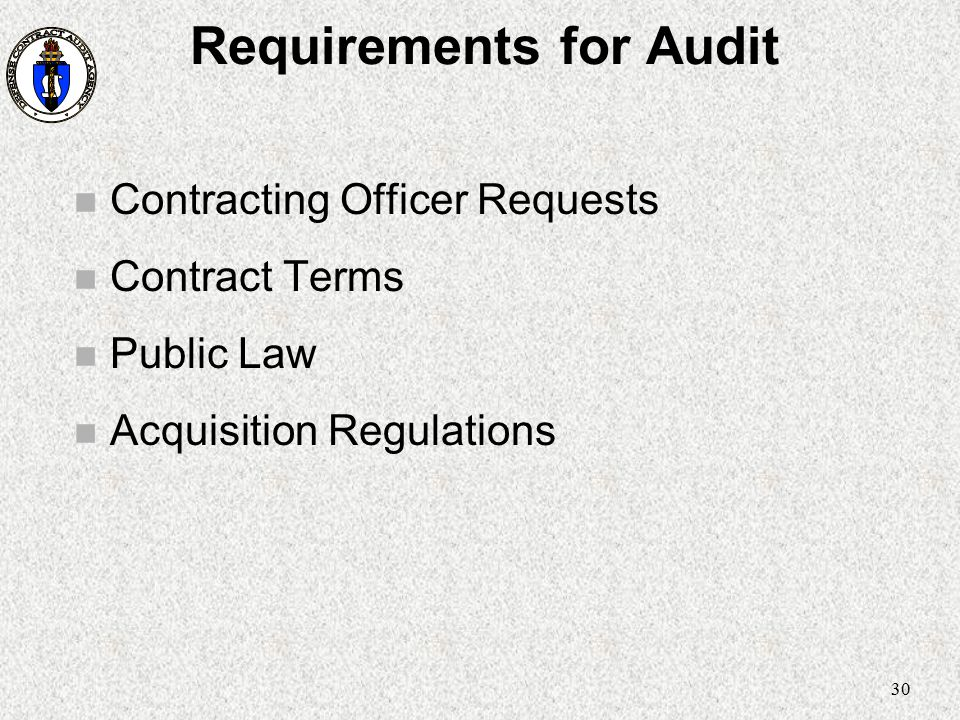 Requirements for Audit