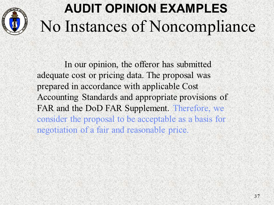 AUDIT OPINION EXAMPLES No Instances of Noncompliance