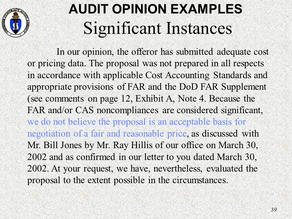 AUDIT OPINION EXAMPLES Significant Instances