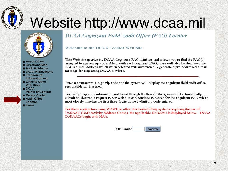 Website http://www.dcaa.mil