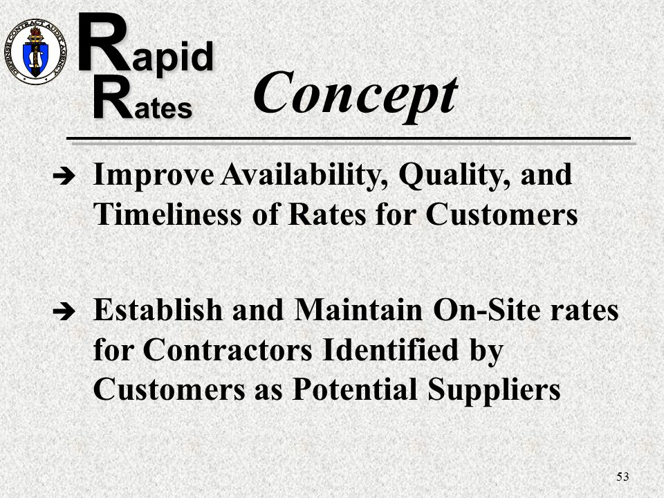 Rapid Concept. Rates. Improve Availability, Quality, and Timeliness of Rates for Customers.