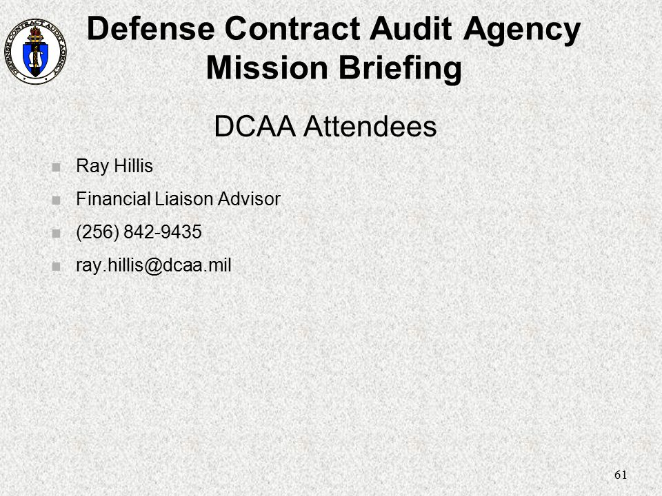 Defense Contract Audit Agency Mission Briefing