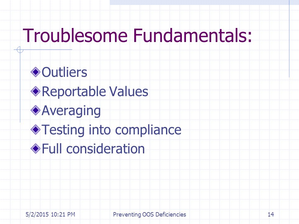 Troublesome Fundamentals: