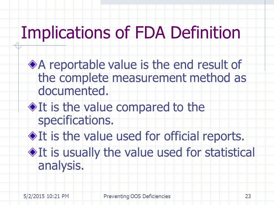 Implications of FDA Definition
