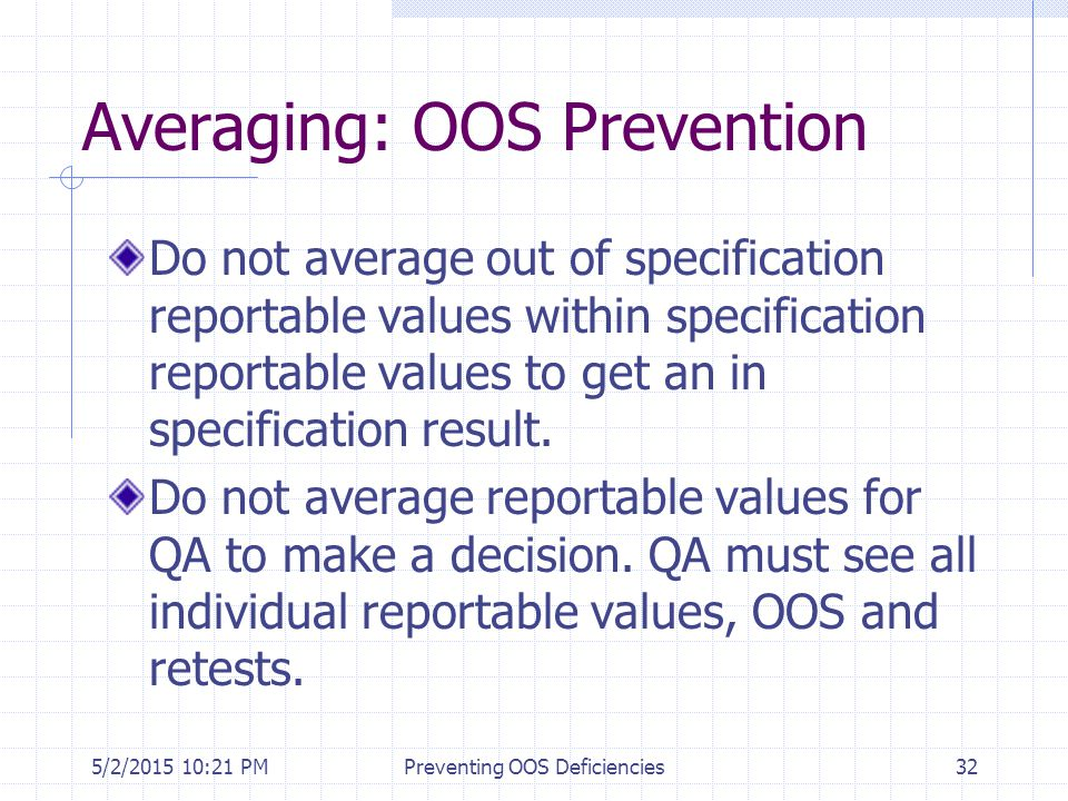 Averaging: OOS Prevention