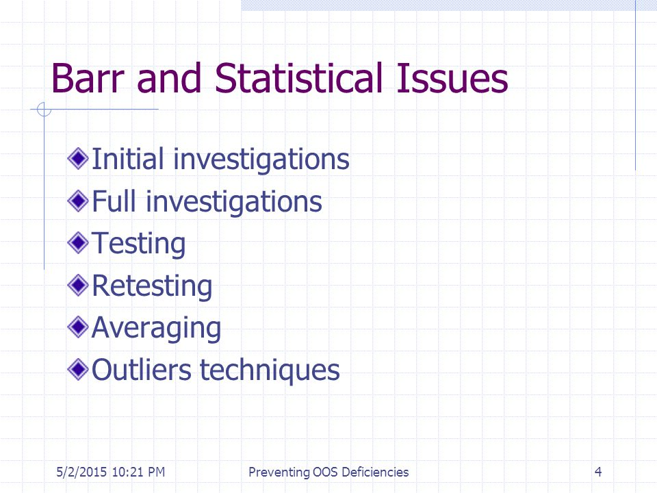 Barr and Statistical Issues